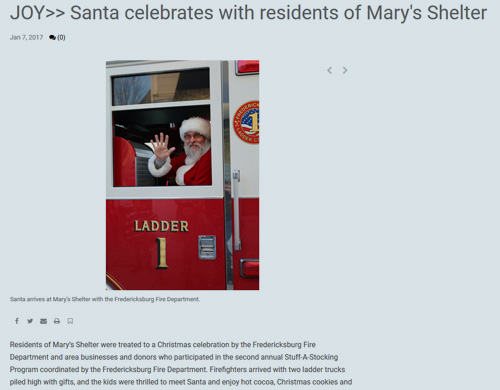 Joy: Santa celebrates with residents of Mary's Shelter (January 7, 2017, Free Lance-Star)